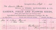 1870 Springfield Massachusetts Billhead Agricultural & Horticultural Implements