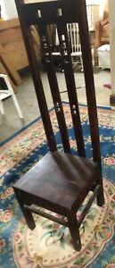Tall High Back Dark Hard Wood Chair - Oriental