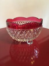 Indiana Glass ~ Diamond Point Cut Glass Footed Bowl ~ Clear with Ruby Band