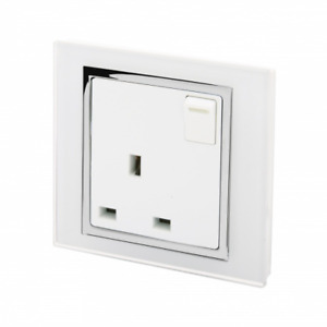 RetroTouch Single 1 Gang Switched Plug Socket 13A White Glass CT 00164