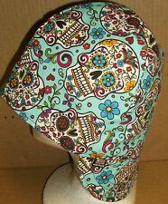 Day of Dead-Blue Handmade 100% cotton, Welding, Biker, Pipe-fitter,4 panel hat