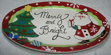 Christmas Santa Cookie Oval Plate Fitz and Floyd Merry and Bright Tray Mint Cond