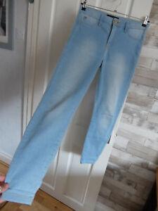 "RIVER ISLAND ● size 12 S L29"" ● light blue denim skinny jeans womens ladies"