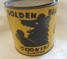 Antique AMAZING cond. Golden Bear Almond Cookie Tin litho can Advertising