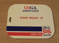 "1991-92 OFFICIAL Golf Bag TAG~""USGA ASSOCIATES""~Double Sided~"