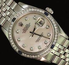 Rolex Mens Datejust Steel Oyster Diamond Sapphire Bezel Dial Perpetual Watch