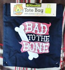 """Bad To The Bone Tote Shopping Bag 100% Cotton 12""""x13""""  Black Red Dogs Unleashed"""
