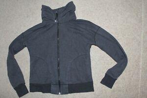 Womens Sz 6 Lululemon Mock Neck Heathered Gray Cotton Sweatshirt Full Zip Jacket