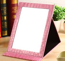 "10"" X 7""  PU Leather Folding Makeup Cosmetic Haircut Portable Mirror"
