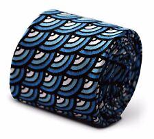 Frederick Thomas Mens 100% coton cravate en nuances de Bleu Rainbow modèle
