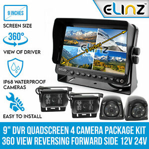 "Quadscreen 9"" DVR 4 Camera Package Kit 360 View Reversing Forward Side 12V 24V"