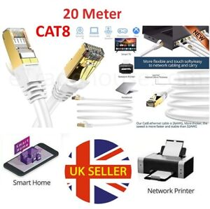 CAT8 Ethernet Network RJ45 SSTP 40Gbps Gigabit Patch LAN Gold Plated Cable 20M