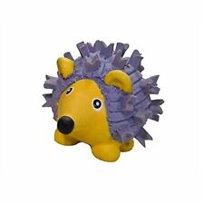 HuggleHounds Ruff-Tex Violet the Hedgehog Mini Dog Toy | Yellow/Violet