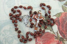 Catholic Rosary 5mm GENUINE Dk BROWN COCOA Wood Beads Miraculous medal NOS