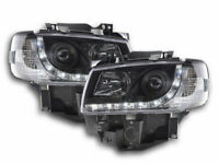 VW T4 LONG NOSE BLACK PROJECTOR DRL DAYTIME RUNNING HEADLIGHTS HEADLAMPS 96-2003