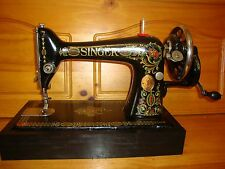 "ANTIQUE SINGER SEWING MACHINE MODEL 66 ""RED EYE"" ,HAND CRANK,LEATHER,SERVICED"