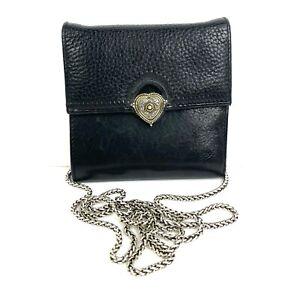 Brighton Crossbody Bag Black Pebbled Leather Chain Strap Wallet Organizer Purse