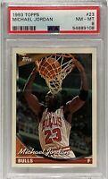 1993 Topps 23 Michael Jordan PSA 8 Chicago Bulls Birthday  4-3-68 vs 2-17-63