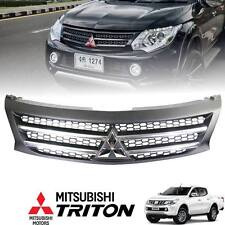 Front Grille Grill Black Bar Chrome Logo For Mitsubishi Triton L200 MN ML 14-ON
