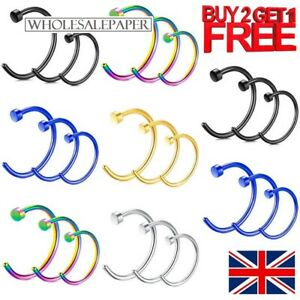 NOSE RINGS HOOPS SMALL THIN FAKE LIP EAR BODY PIERCINGS STAINLESS SURGICAL STEEL