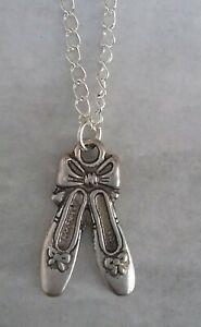 Tibetan Silver BALLERINA SLIPPERS Pendant with Necklace - Gift. DANCE BALLET.