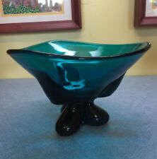 "New Martinsville Viking Epic Teal, Blue Green 3 toed feet 5.25"" Bowl mid century"