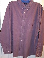 CHAPS Button Down Men Shirt Cotton Blend Long Sleeve  Burgundy  Check  XXL/TTG