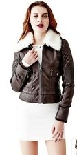 GUESS Women's  Faux Leather Jacket Small with Faux-fur collar Brown