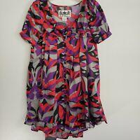 BB Dakota Multicolor Mod Print Babydoll Ruffle Mini Dress Women's Size S EUC