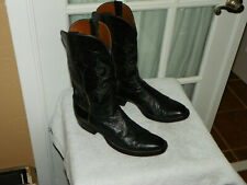 LUCCHESE Black Smooth Ostrich Skin Cowboy Western Boots Men's size 10 B narrow
