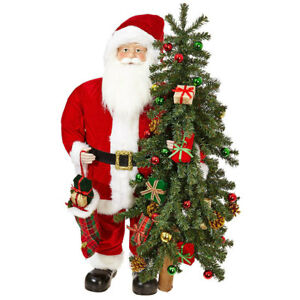 """37"""" SANTA WITH TREE 3815516 RAZ Imports Christmas NEW FaBuLouS!"""