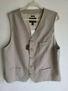 Jos A Bank Reserve Men Waistcoat Vest Olive & Tan Tailored Fit Lined sz XXL New