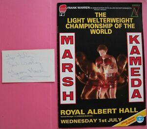 Boxing: Terry Marsh Autographed Card + Title Fight Program vs Akio Kameda
