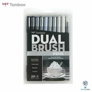 Tombow Dual Brush Pens | Arts Craft Colouring Hobby Artist - Grayscale Palette