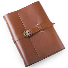 Ancicraft Refillable Leather Journal Diary With Strap Buckle Red Brown A5 Blank