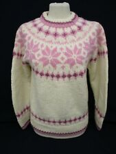 Fairisle Icelandic Sweater, Eddie Bauer Nordic Knit Jumper, Small, Cream, 46cm W