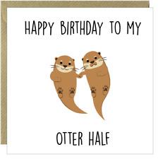 Funny Happy Birthday Card Husband Wife Humorous Boyfreind Girlfriend Otter /CQ