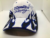 Draw-Tite Racing Strapback Hat Black Blue Flames White Cap One Size Fits All #19