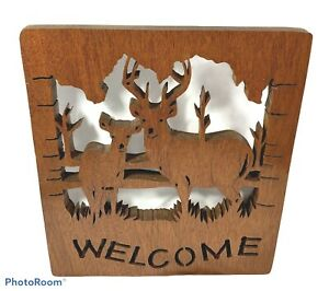 DEER BUCK STAG Laser Cut Wood WELCOME Wall Art LODGE Wooden SIGN Cabin HUNTING