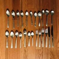 24 Piece Mixed Lot National Bentley Rogers Silco Stainless Flatware Silverware
