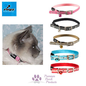 Rogz Sparklecat Cat Collar with Pin Buckle and Safety Elastic - SML 25-31cm neck