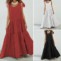 UK Women Summer Strappy Baggy Pleated Cocktail Ladies Party Maxi Dress Plus Size