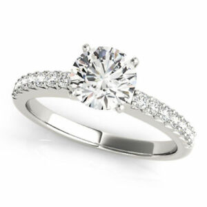 1.32 Ct Round Cut Diamond Engagement Ring White Gold Finish Size M N O P K J I L