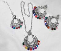 Indian Women Silver Oxidized Necklace Set With Maang Tikka Jewelry Diwali Wear