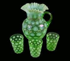 Fenton Art Glass Lime Opalescent Coin Dot Ruffled Top Pitcher & 3 Tumblers