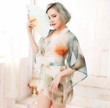 Sexy Japanese Kimono Lingerie Robe Nightdress Nightclub Love Cosplay Costume Set