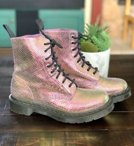 DR MARTENS Womens Size 38 US 7 PASCAL Leather Combat Boots Airwick Pink NEW