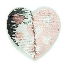 Wendepailletten Aufnäher Applikation Pailletten Herz rosa gelb silber schwarz