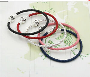 New PANDORA Moments 925 Leather Charms women Bracelets