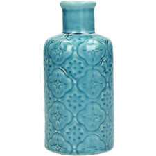 Vintage Moroccan Style Blue Ceramic Bottle Small Flower Bud Vase Wedding Table